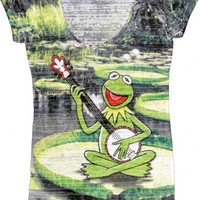The Muppets Kermit the Frog Banjo Pond White Sumblimation Burnout Juniors T-shirt