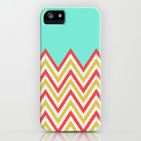 BRIGHT RED & GREEN CHEVRON iPhone & iPod Case by Allyson Johnson