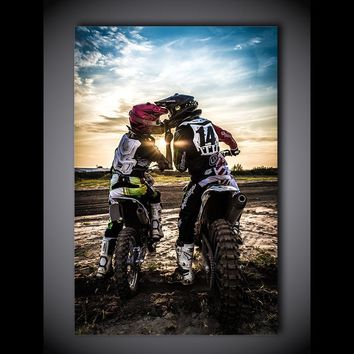 Motorcycle Dirt Sport Bike Love Print Wall Art on Canvas Single Panel