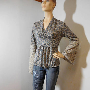 Upcycled Bell Sleeves Hippie Tunic Tshirt Blue Print Empire Waist Size Large Bohemian Top Recycled Extra Long Angel Sleeve Festival Clothing