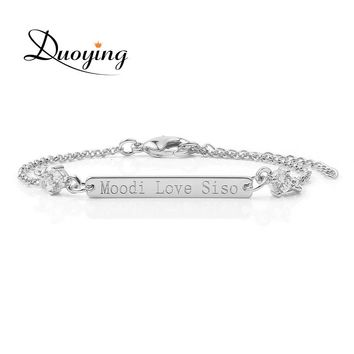 DUOYING Silver Color 30*4 mm Bar Bracelet with Crystal Personalized Custom Engraved Name Bracelets Contemporary Jewelry for Etsy