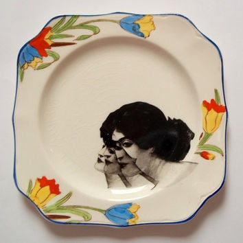 Quirky Victorian lady head decorative plate, square shape, vintage Johnson Bros, black and white ceramic decals