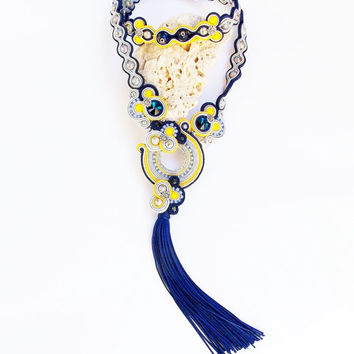Bohemian soutache necklace. Long fabric jewelry. Yellow blue and gray soutache. Tassel Necklace.