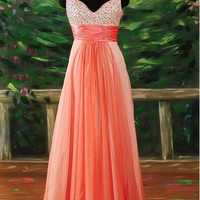 Beach Spaghetti Straps Sleeveless Floor-length Chiffon Sashes Beading Long Bridesmaid/Evening/Party/Homecoming/Prom/Formal Dresses 2013