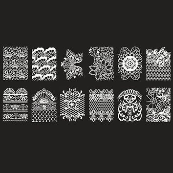 One Piece Floral and Mesh Patterns Nail Art Print Template