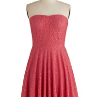ModCloth Mid-length Strapless A-line Leaf it to Chance Dress