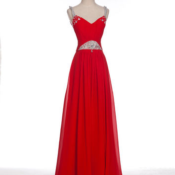 Custom A-line Straps Sleeveless Floor-length Chiffon Beading Long Prom Dress Bridesmaid Dress Formal Evening Dress Party Dress 2013