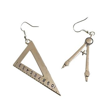 Vintage Compass and Protractor Set Drop Earrings