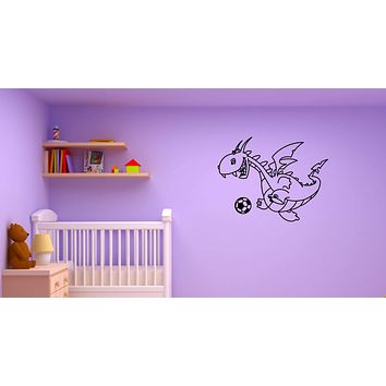 Wall Decal Dragon Funny Football Ball Fairy Tale Children Vinyl Sticker (ed1251)