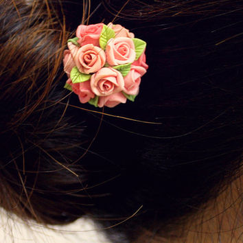 pink rose hair stick, hair accessories , bronze, polymer clay flower, handmade jewelry