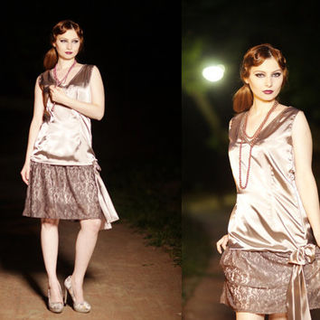 1920s Gray Lace Flapper Great Gatsby Bridesmaid Charleston New Year Christmas Party Dress