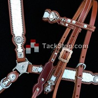 Crown Leather White Diamond Set - The Tack Stop
