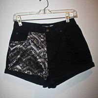 Black Jean High-waisted Shorts with Lace