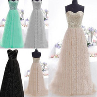 Sequins Women Off Shoulder Wedding Bridesmaid Cocktail Party Evening Long Dress [7981319559]