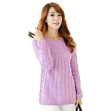 Preppy Style Scoop Collar Long Sleeve Cable Knit Ladies Pullover