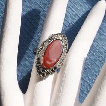 Vintage Ring Carnelian Marcasite Ladies Size 5 Sterling Silver Southwestern Country Western Gift Special Occasion Christmas July Birthstone