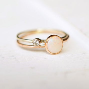 Opal Ring, Moissanite Ring, Ring Set, Wedding Ring, Stacking Rings, Bridal Shower Gift, Engagement Ring, Dainty Gold Ring, Gift for her