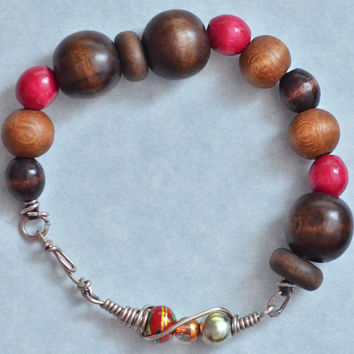 Brown & Red Wood Bead Bracelet with Wire Wrapped Beads on Hemp Cord, Womens Jewelry, Mens Jewelry, Unisex Jewelry