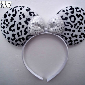 Minnie Mouse Ears headband cheetah print animal print black and white with white sequin bow mickey