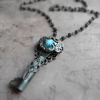 Romantic victorian labradorite key necklace / key pendant, ornate filigree, labradorite, sterling silver plated brass