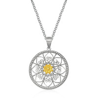 Designer Sterling Silver and 14K Yellow Gold Open Hearts Medallion Pendant
