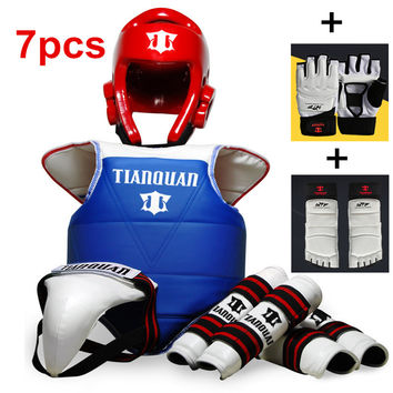 Adult Children Thickening Taekwondo Protector 7 Piece HeadGear Helmet Full protective Taekwondo Guard Bag