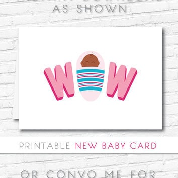 New Baby Announcement Card | Wow Printable Card | Baby Card Pink