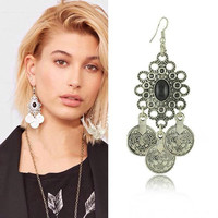 Vintage Antique Silver Turkish Coin Earrings Boho Gypsy Beachy Ethnic Tribal Festival Jewelry Turkish Dangle Drop Earring Women