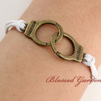 bracelet, handcuff bracelet, white bracelet, freedom bracelet, antique bronze handcuff, friendship gift