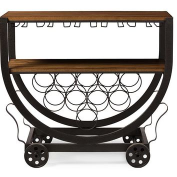 Baxton Studio Triesta Antiqued Vintage Industrial Metal And Wood Wheeled Wine Rack Cart  Set of 1