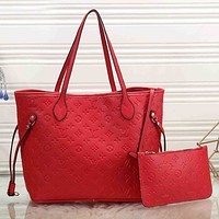 Louis Vuitton LV Fashion New Monogram Leather Two Piece Suit Handbag Shoulder Bag Women Red