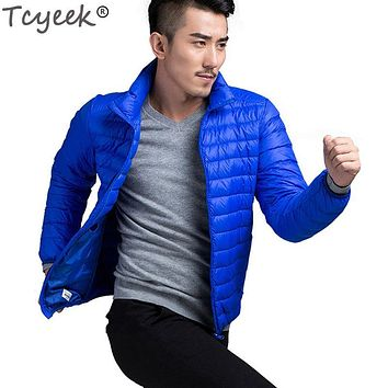 Tcyeek Men warm Jackets solid thin breathable Winter Jacket Men outwear Coat Lightweight parka Plus size5XL hombre jaqueta YYJ33