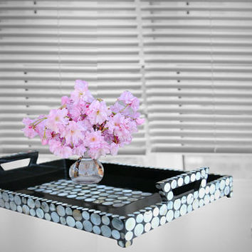 Luminous Dimension Black Large Lacquer Tray with Seashell sequin inlay