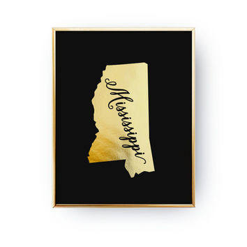 USA State Poster, Mississippi State Map, Real Gold Foil Print, Mississippi Print, Mississippi State Print, Gold USA State, Black Background,
