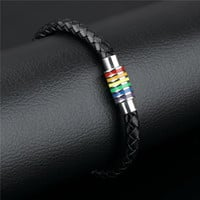 Gay Pride Leather Charm Bracelet