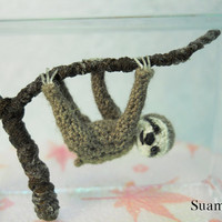 Miniature Grey Sloth   Micro Crochet Dollhouse Animals  by SuAmi