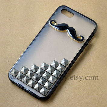 Iphone 5 Case, Black Mustache Iphone 5 Case, Gun Metal Black Stud Iphone 5 Case, Black Rubber Frame Hard plastic Back Iphone Case Cover