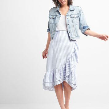 Ruffle Wrap Midi Skirt|gap