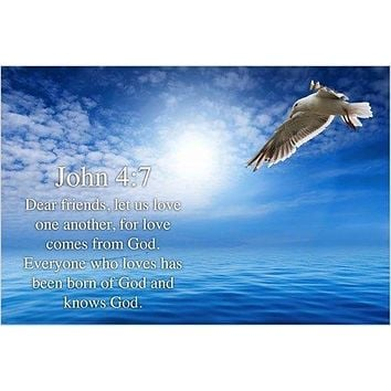 BIBLE VERSE JOHN 4:7 christian poster LOVE ONE ANOTHER LOVE GOD 24X36 rare