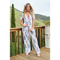 Opening Night Floral Jumpsuit (White)