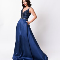 Navy Blue Sleeveless Sweetheart Embellished Satin Long Gown 2016 Prom Dresses