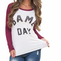 "Causal Women's Burgundy/White ""Game Day"" Long Sleeve Baseball Style T-Shirt Top"
