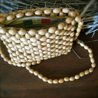 Vintage Wooden Beaded Purse with Strap - Made In Italy Tag Florentia zippered bag purse