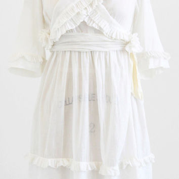 antique Edwardian dress / 1910s dress / White Cotton Pinafore Ruffles Dress