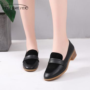 Genuine cow leather brogue lady Sandals Pumps casual shoes vintage women handmade oxford shoes for women beige black with fur