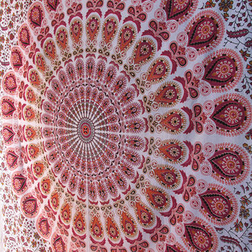 White Small Barmeri Hippie printed Cotton Tapestry Wall Hanging Indian Mandala Bedspread Bohemian Throw Home Decor