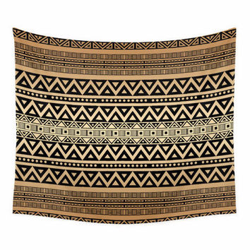 Bohemian Wall Tapestry with tribal pattern in caramel and mocha brown