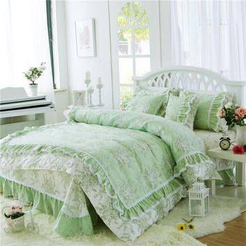 Pastoral Princess green Bedding Set Luxury 3/4pcs Printing Ruffles lace Cotton Queen Duvet Cover Bed sheet Bedspread Bedclothes