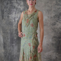 1920s Flapper Dress pale Green Poppy Floral