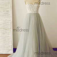 Strapless Sweetheart Ivory Lace Silver Grey Tulle Ball Gown Wedding Dress/Bridesmaid Dress/Prom Dress